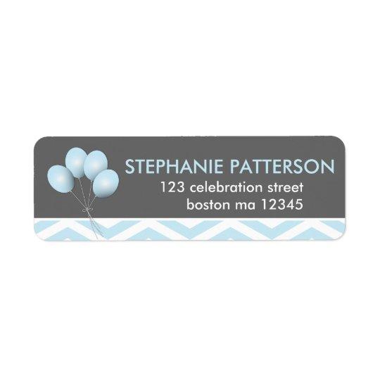 Étiquette de adresse bleu moderne de retour de bal