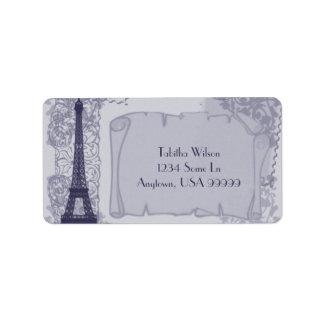 Étiquette de adresse bleu parisien