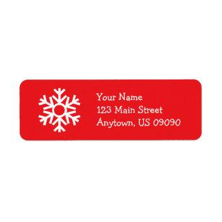 Étiquette de adresse C de flocon de neige (rouge)