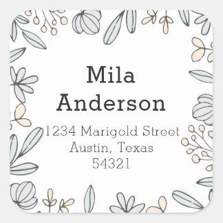 Étiquette de adresse carré floral sensible
