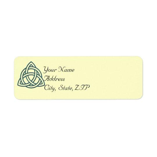 Étiquette de adresse celtique turquoise de retour