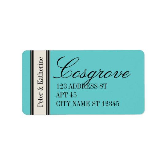 Étiquette de adresse classique vintage, bleu