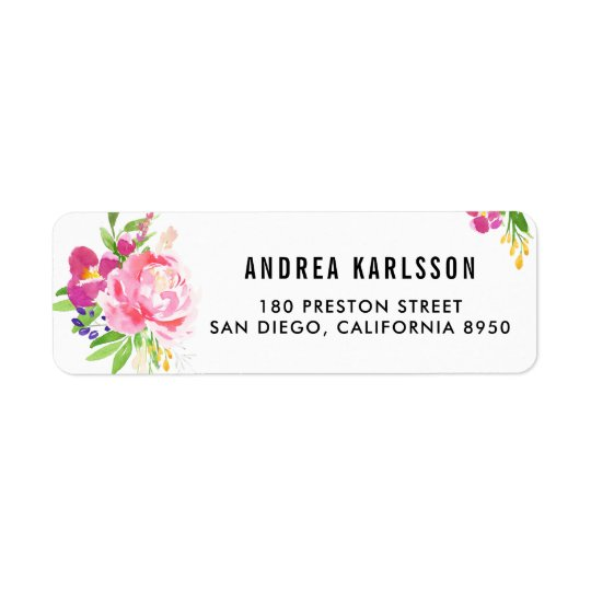 Étiquette de adresse coloré de fleurs de ressort