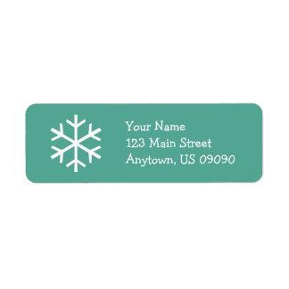 Étiquette de adresse D (Teal) de flocon de neige