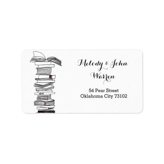 Étiquette de adresse d'affaires de Booklover de
