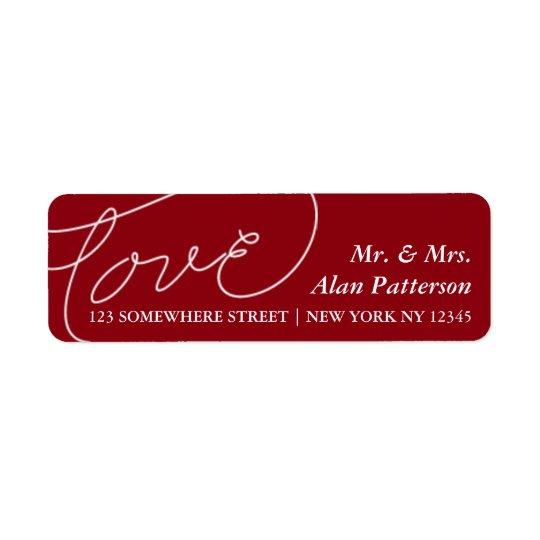 Étiquette de adresse d'amour de nouveaux mariés de