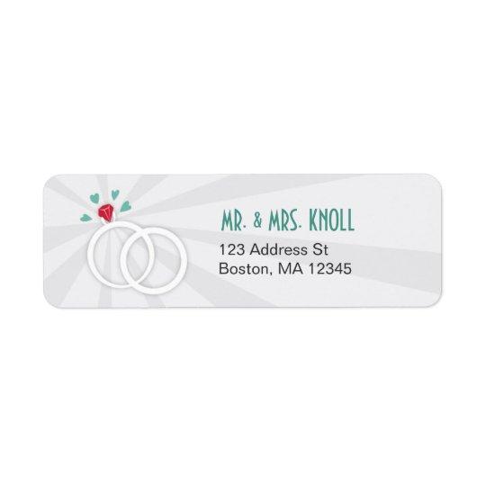 Étiquette de adresse d'anneaux de mariage