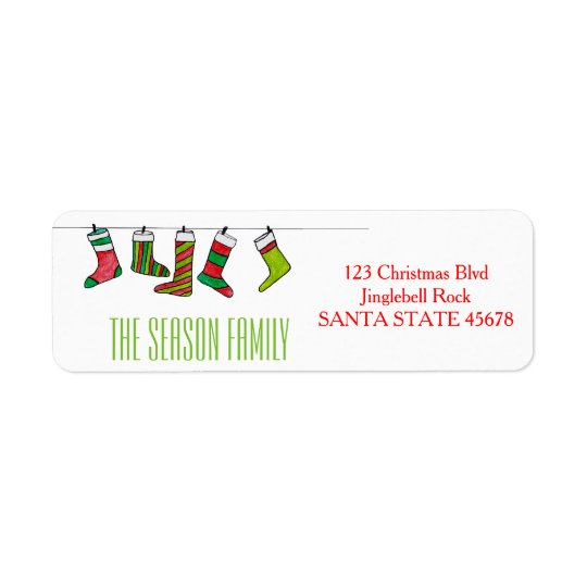 Étiquette de adresse de bas de Noël