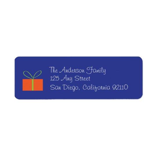 Étiquette de adresse de cadeau de Noël (bleu)
