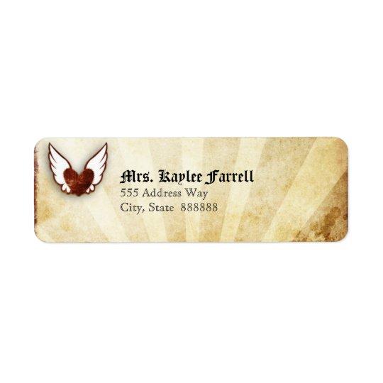 Étiquette de adresse de coeur à ailes par tatouage