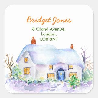 Étiquette de adresse de cottage de neige