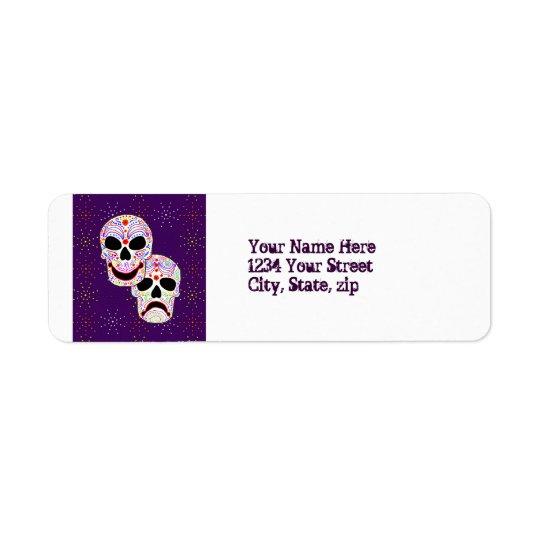Étiquette de adresse de crânes de Comédie-Tragédie