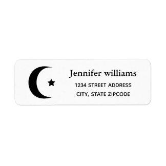 Étiquette de adresse de croissant de lune et