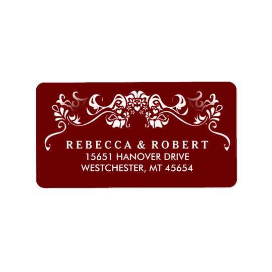 Étiquette de adresse de fantaisie rouge et blanc
