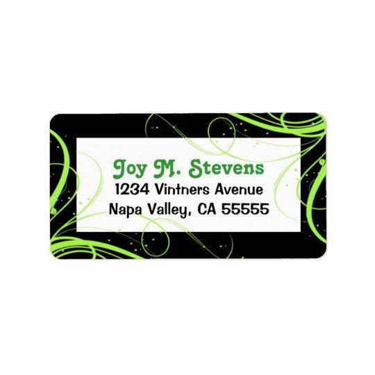 Étiquette de adresse de fête vert et noir