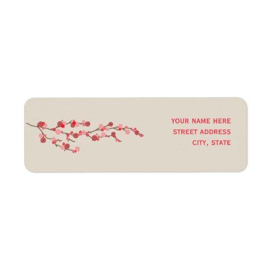 Étiquette de adresse de fleurs de cerisier d'aquar