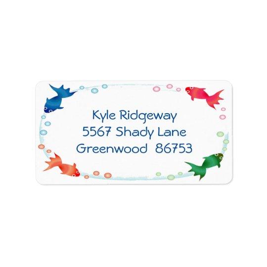 Étiquette de adresse de frontière de poissons