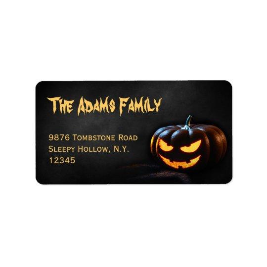 Étiquette de adresse de Jack-o'-lantern Halloween