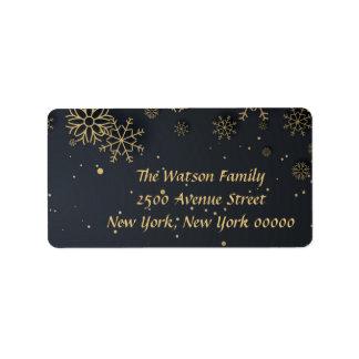 Étiquette de adresse de Joyeux Noël de flocon de