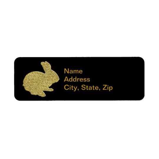 Étiquette de adresse de lapin de Pâques de