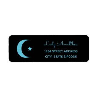 Étiquette de adresse de lune bleue et d'étoile