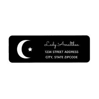 Étiquette de adresse de lune et d'étoile
