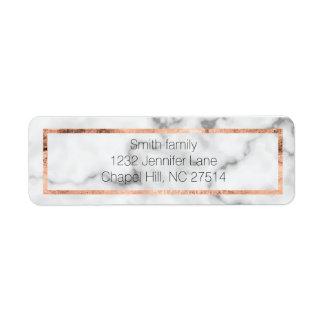Étiquette de adresse de marbre et rose de retour