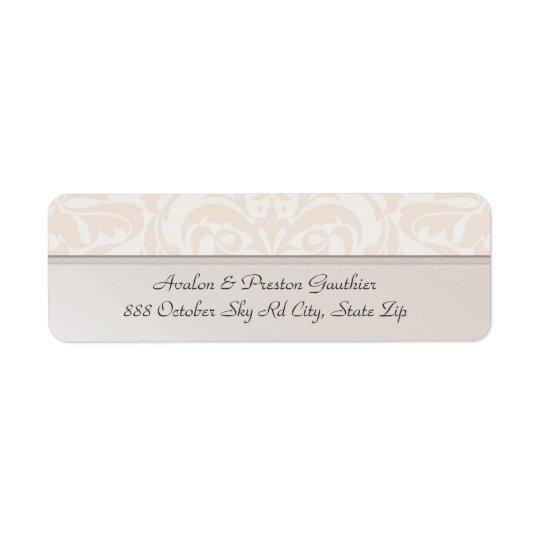 Étiquette de adresse de mariage damassé en métal