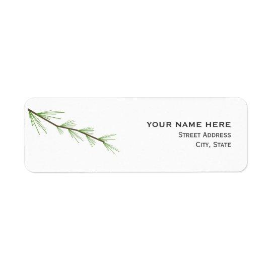 Étiquette de adresse de mariage de branche de pin