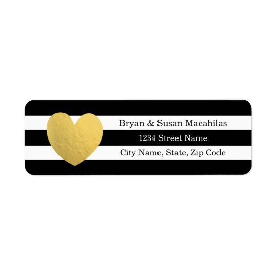 Étiquette de adresse de mariage de rayure de noir