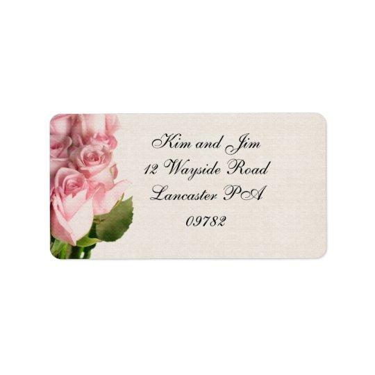 étiquette de adresse de mariage de rose de rose