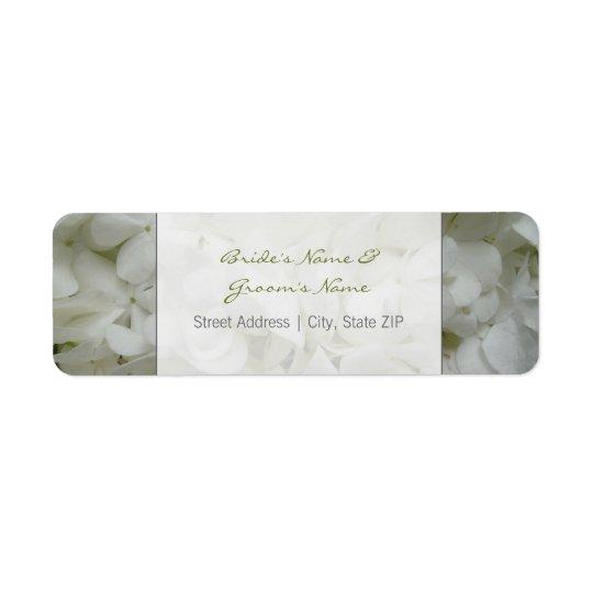 Étiquette de adresse de mariage - fleurs blanches