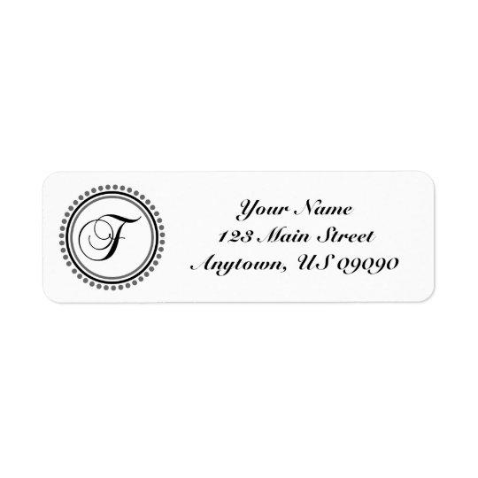 Étiquette de adresse de Mongram de cercle de point