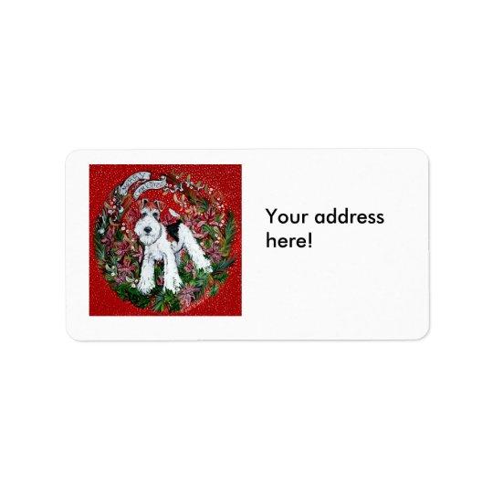 Étiquette de adresse de Noël de Fox Terrier