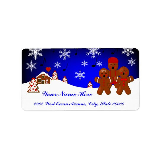Étiquette de adresse de pain d'épice de Noël