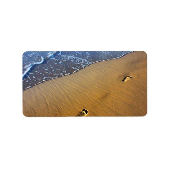 Étiquette de adresse de pas de plage
