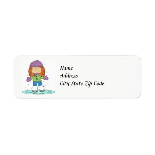 Étiquette de adresse de patineur de glace d'hiver