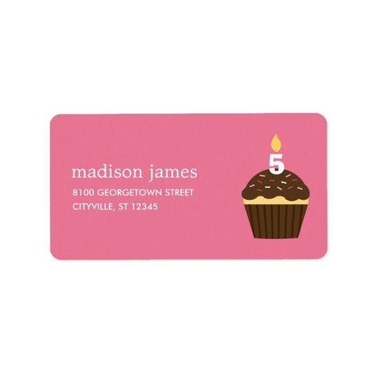 Étiquette de adresse de petit gâteau - rose