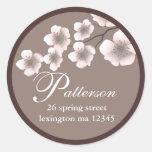 Étiquette de adresse de printemps de fleurs de autocollant rond