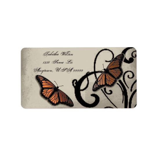 Étiquette de adresse de remous de papillon d'onyx