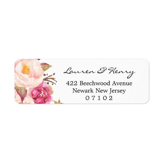 Étiquette de adresse de retour - #102 floral rose
