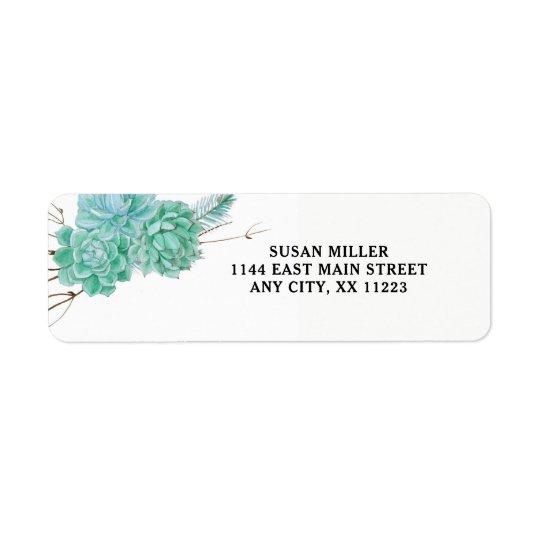 Étiquette de adresse de retour 3961 de Succulent