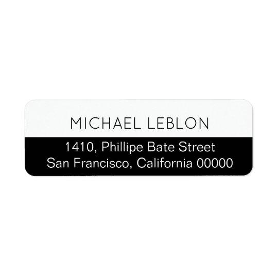 étiquette de adresse de retour à moitié noir avec