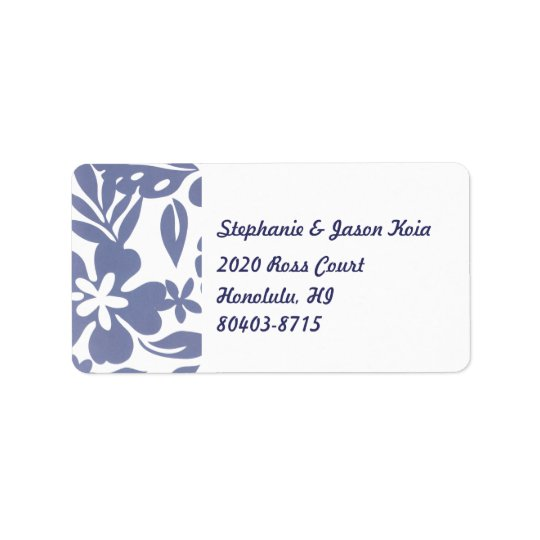 Étiquette de adresse de retour bleu d'Hawaï