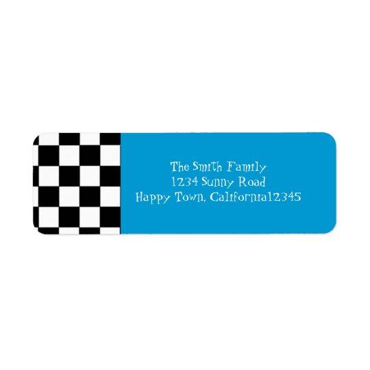 étiquette de adresse de retour Checkered des