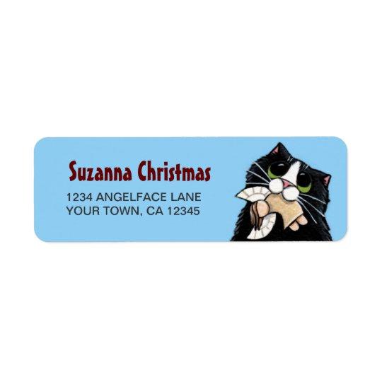 Étiquette de adresse de retour d'ange de chat et