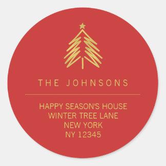 Étiquette de adresse de retour d'arbre de Noël -