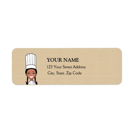 Étiquette de adresse de retour de Baker d'Afro-amé