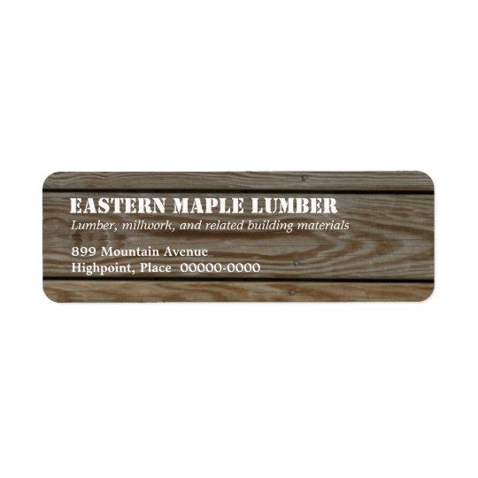 Étiquette de adresse de retour de bois de