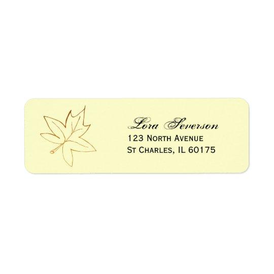 Étiquette de adresse de retour de feuille d'érable